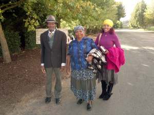 A local family, heading for church...