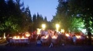 Community Dinner underway at dusk - 7 Feb 2015